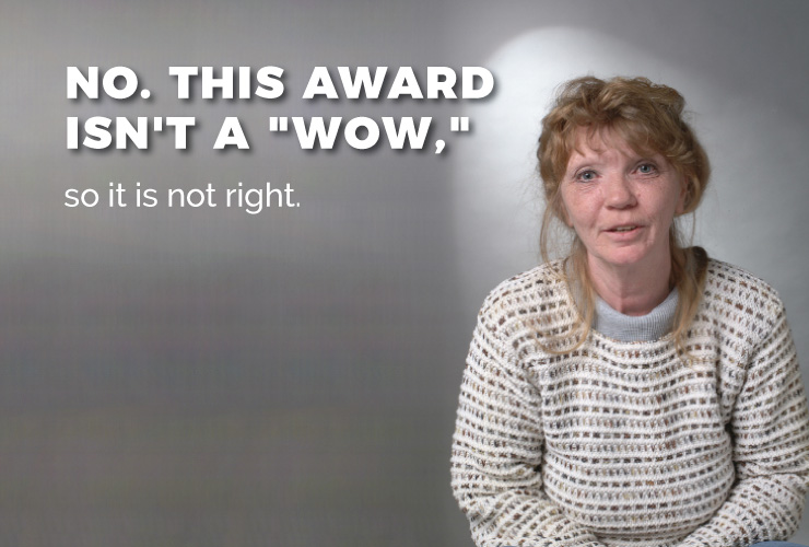 """No. This award isn't a """"WOW,"""" so it is not right."""