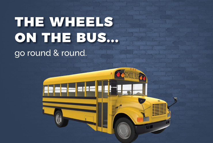 The wheels on the bus go round and round.